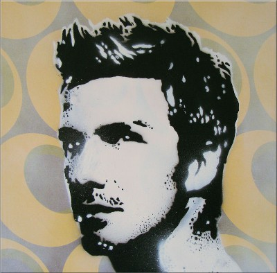 David Beckham Football Canvas Art Stencil Picture Hand Sprayed by Art By People - print