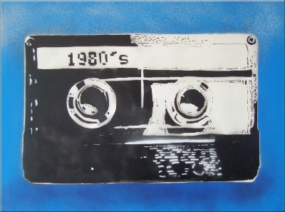 80's Cassette Tape Graffiti Stencil onto Canvas Art Picture by Art By People - print