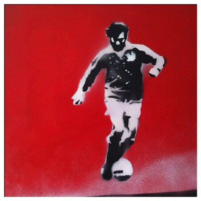 George Best Handsprayed Stencils Canvas Art Picture by Art By People - print
