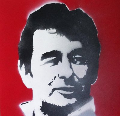Brian Clough Stencil Portrait Handsprayed on Canvas by Art By People - print