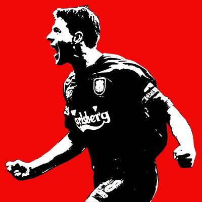 Steven Gerrard Liverpool Handsprayed Canvas Art Picture by Art By People - print