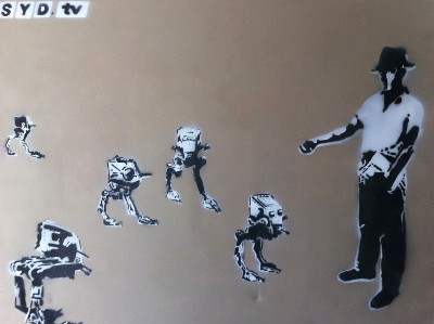 Battery Farming Hand Sprayed Stencil on Super Large Canvas by Syd TV - print