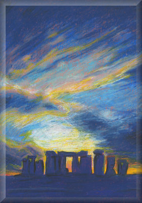 Stonehenge Sunset, Blue Canvas Art Print Picture by Luke Hollingworth - print