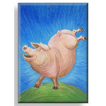 Dancing Pig, Canvas Art , Blue and Pink by Martin Shelley - print
