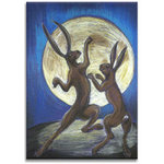 Moon Hares Dancing, Canvas Art Picture, Blue Black by Martin Shelley - print
