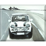 Mini Cooper, Canvas Art Picture, Black & White by Mellie Thorp - print