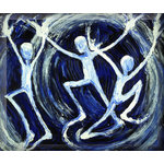 Three Wave Surfers, Surf Canvas Art Picture by Francesca Pinerpaz - print