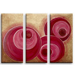 Triptych Abstract Red Brown Circles, Triple Canvas Art by Martin Shelley - print