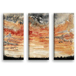 Red Sunset Sky Triple Watercolour Canvas Art by Jonathon Lucie - print