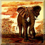 African Elephant at Dusk, Brown Animal Canvas Art by Brian Hollingworth - print