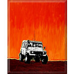 Land Rover Defender, Canvas Art Print, Brown & Orange by Luke Hollingworth - print