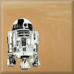 R2 Stencil, Street Art Stencil Graffiti Original on Canvas