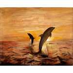 Dolphin Canvas Art Picture, Brown & Orange by Jonathon Lucie - print