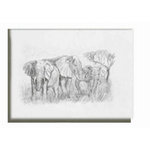 Elephant Family, Black and white sketch, Canvas art by Brian Hollingworth - print