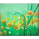 Meadow Poppies, Green Canvas Art Picture by Luke Hollingworth - print