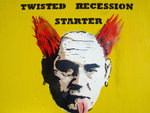 Twisted Recession Starter, Prodigy Meets Gordon Brown, Radio 1 Big Weekend Street Art Graffiti Stencil - On plywood by Syd TV - print