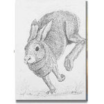 Running Hare, Black and white sketch,Canvas Art by Brian Hollingworth - print