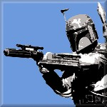 Boba Fett Blue Retro Canvas Art Print by See More - print