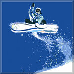 Snowboarder Canvas Art Blue Snowboard Picture by See More - print