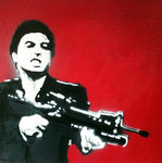 Scarface Canvas Al Pacino Tony Montana Art Handsprayed Graffiti Stencil by See More - print