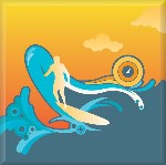 Surf Canvas Art Surfboarding Pop Picture by Po - print