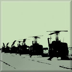 Huey Helicopter Stencil Green Canvas Art by See More - print