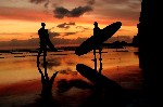 Surf Sunset Canvas Art Picture, Surfer Beach by Josh Excell - print