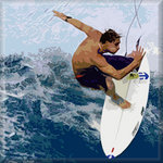 Surf Surfing Canvas Art Picture Blue by See More - print