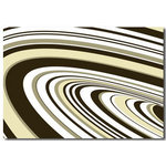 Brown & Cream Retro Wave Stripes, Canvas Art Picture