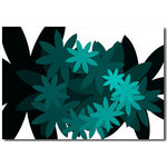 Flowers Spiral - Green Floral Canvas Art Picture by Migg - print