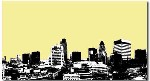 London Landscape Brown Cream Yellow Stencil Canvas Art by Migg - print