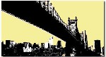 New York Brooklyn Landscape Brown Yellow Canvas Art Print