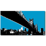 New York Brooklyn, Blue Canvas Art PIcture by Migg - print