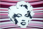 Marilyn Monroe Pink Hand Sprayed Stencil Canvas Art Picture by Art By People - print