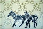 Zebras Flock Stencil Graffiti Canvas Art Handsprayed onto Print by Art By People - print