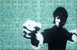 Bruce Lee Graffiti Art Stencil on Canvas Print by Art By People - print