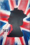Queen Stamped Inverse Graffiti Stencil Art on Canvas Union Jack by Art By People - print