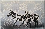 Zebras Flock Black White Stencil Graffiti Canvas Art by Art By People - print