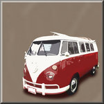 VW Camper Van Classic Red Brown - Volkswagen Canvas Art by See More - print