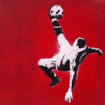 Wayne Rooney Overhead Kick Canvas Art Handsprayed Picture by Art By People - print
