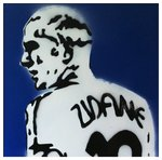 Zinedine Zidane Stencil Handsprayed on Canvas by Art By People - print
