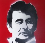 Brian Clough Stencil Portrait Handsprayed on Canvas
