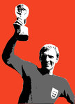 Bobby Moore World Cup England Handsprayed Stencil on Canvas Artwork by Art By People - print