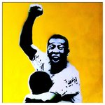 Pele Handsprayed Canvas Art Picture Football by Art By People - print