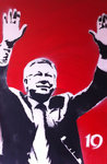 Alex Ferguson '19' Manchester United Handsprayed Canvas Art Picture Framed by Art By People - print