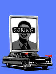 Boring Communist Art Handsprayed Stencil Graffiti on Canvas by Syd - print