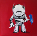 Robot Tagger Graffiti Stencil Handsprayed on Canvas Ipad Designed by Art By People - print