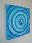 Teal Blue Twister Original Canvas Art Painting by Luke Hollingworth - print