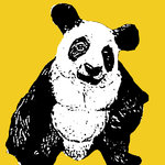 Panda Handsprayed Stencil on Canvas by Art By People - print