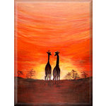 Giraffe Canvas Sunset Africa Brown Art Picture by Martin Shelley - print